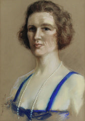 Woman With A Pearl Necklace - Original 1922 Portrait Pastel Drawing