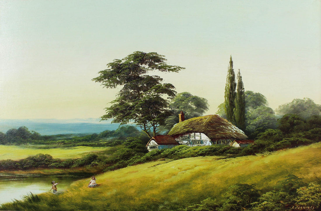 E. Jennings - Country Cottage, Early 20th Century Oil