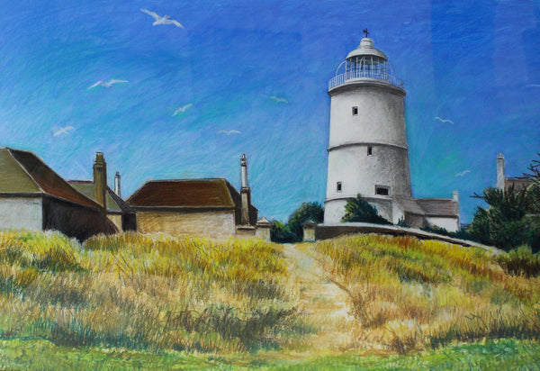 Cecil Riley - Lighthouse, Original 1995 Pastel Drawing