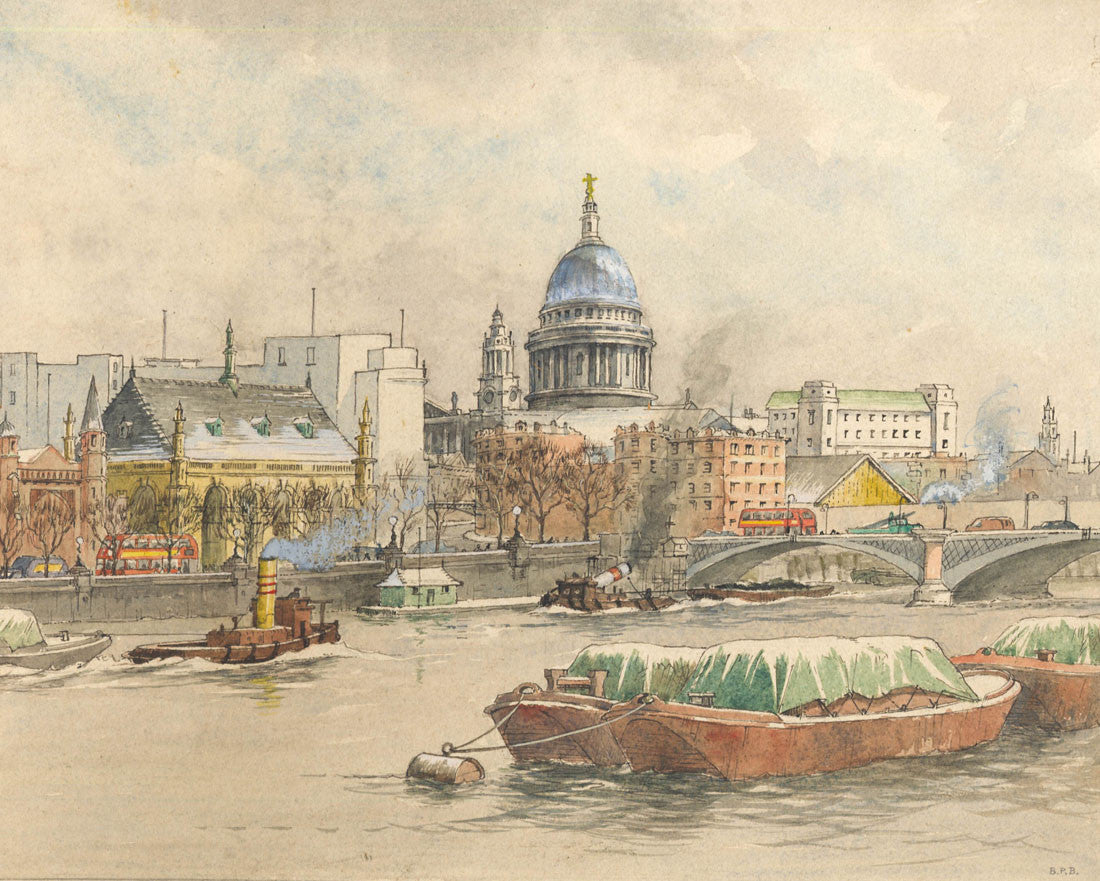 B. P. B - On the Thames, Mid 20th Century Watercolour