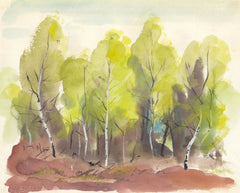 Spring Birches - Mid 20th Century Watercolour