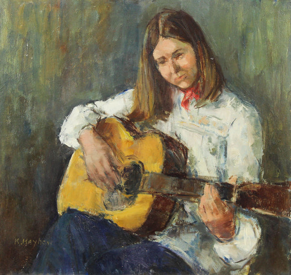 Kathleen S. Hayhow - Maxine With Her Guitar, 1976 Oil