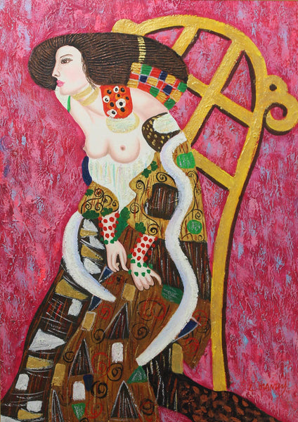 After Klimt - Female Portrait, Affordable Contemporary Mixed Media Painting
