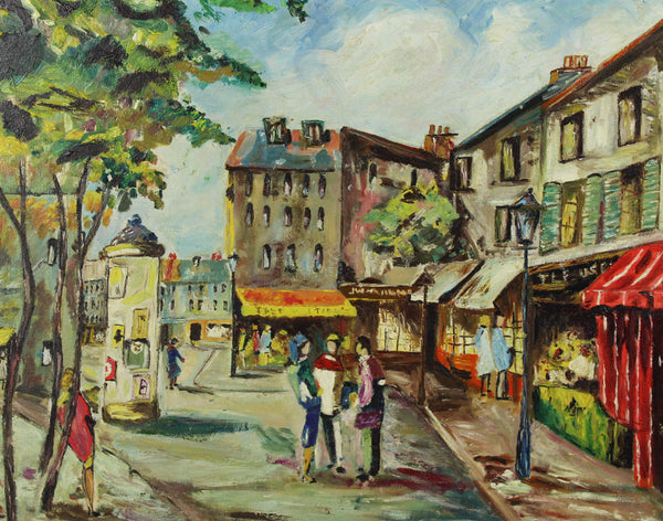 French Street Scene - Mid 20th Century Oil
