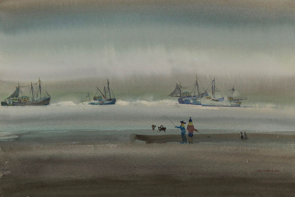 Sybil Mullen Glover - Fishing on the Beach, Mid 20th Century Watercolour