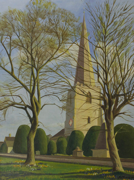 E. L. Evans - Painswick Church, 1968 Oil