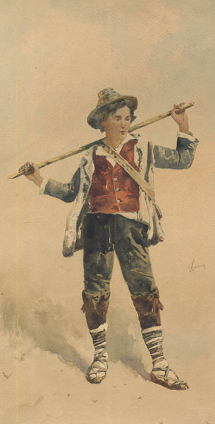 Kunig - Boy Holding Staff, Early 20th Century Affordable Watercolour Painting