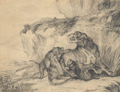 After George Stubbs - Lioness And Her Cubs, 19th Century Pencil