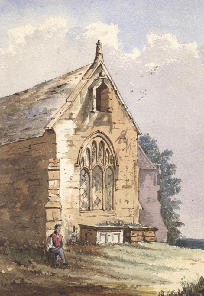 Church - Original 19th Century Watercolour Painting