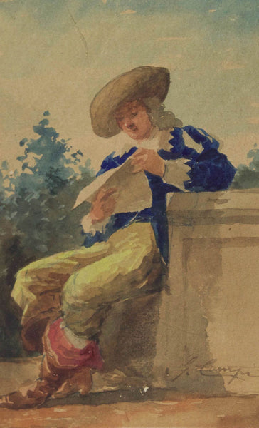 English School - A Cavalier, 19th Century Watercolour