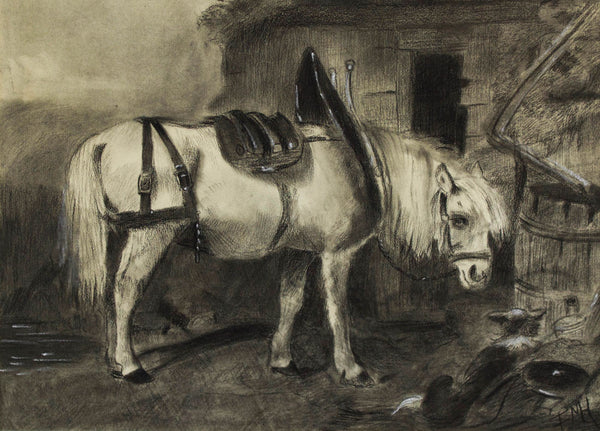 E.N.H - Pony, Original 20th Century Charcoal Drawing