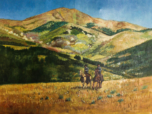 Michael Grimsdale - Cowboys, 1982 Original Oil Painting