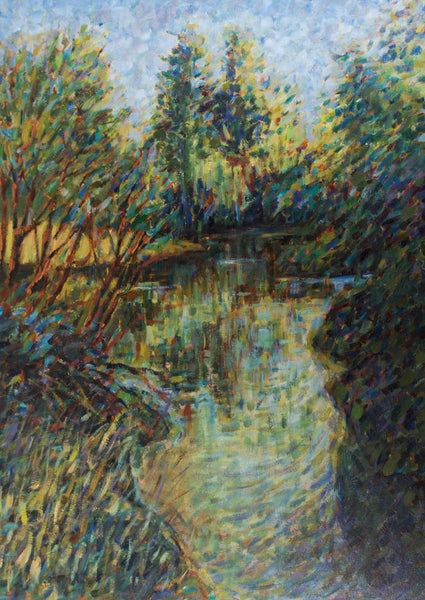 Michael Bowman - Pond, Original Contemporary Oil Painting