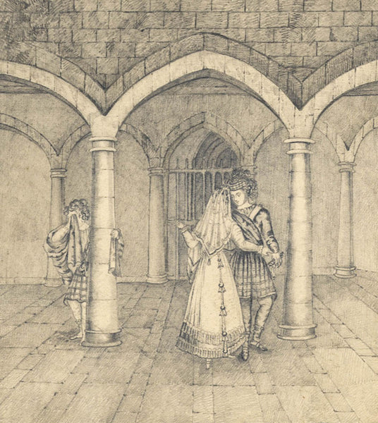 Raymond-Barker Family - Shakespearean Scene, 19th Century Pencil