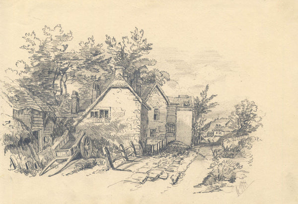 A. J. Moreton - Cottages, 19th Century Original Pencil Drawing