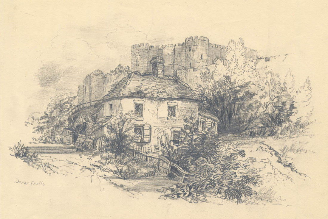 Raymond-Barker Family - Dover Castle, Original 19th Century Drawing