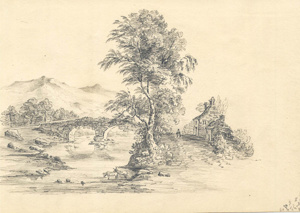 A. J. Moreton - Bridge, Original 1848 Pencil Drawing