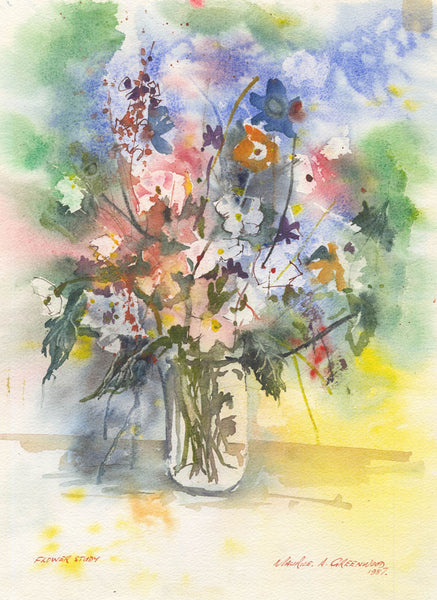 Maurice A. Greenwood RCA - Flower Study, Original 1987 Watercolour Painting