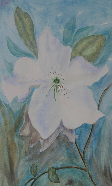 White Flower Contemporary Original Watercolour Painting