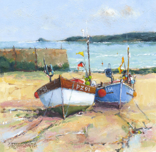 Stewart Middlemas - Two Boats, Sennen, Original 2011 Acrylic Painting