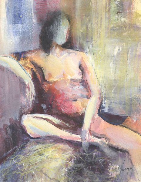 Steve Slimm - Nude, Relaxed Pose, Original Contemporary Mixed Media Painting
