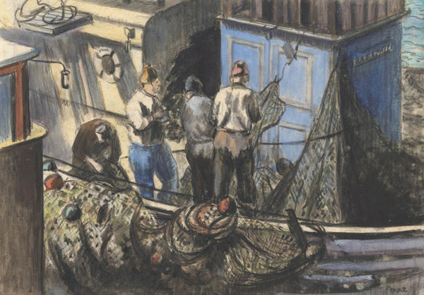 Marjorie Mort - Working on the Boat, Mid 20th Century Mixed Media