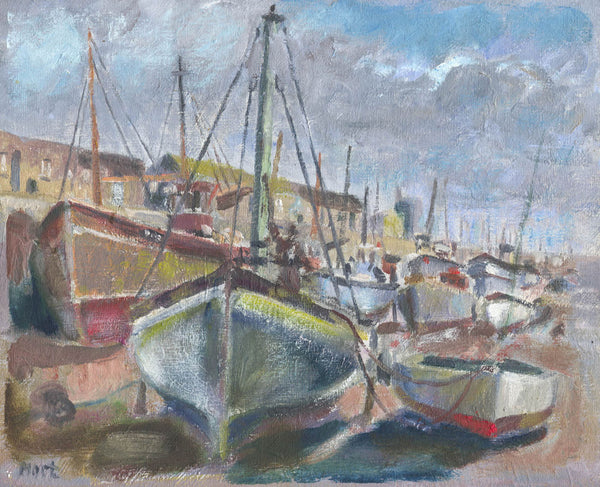 Cornish Harbour - Marjorie Mort, Original 1949 Oil Painting