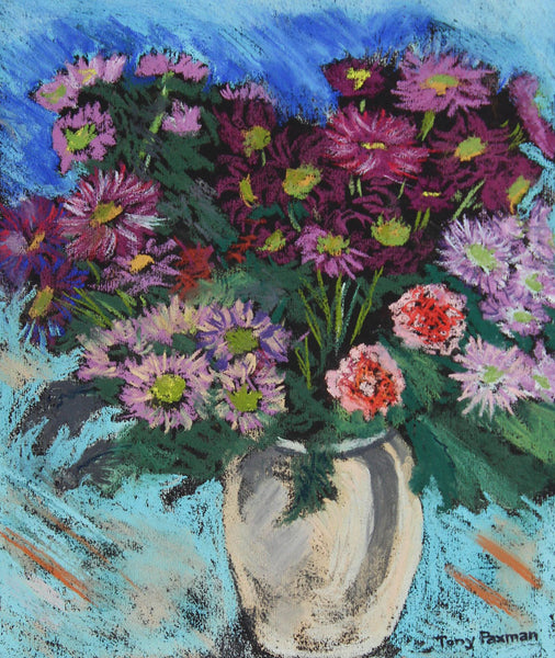 Tony Paxman - Vibrant Flowers, Original Contemporary Pastel Drawing