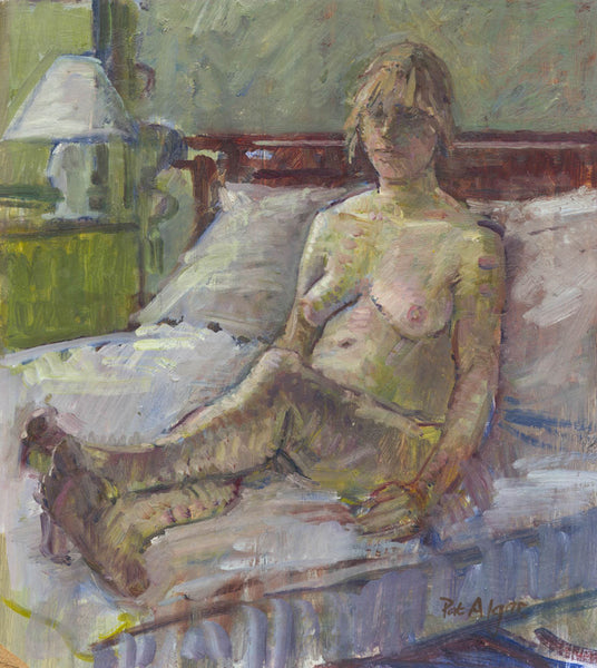 Pat Algar - Reclining Nude, Mid 20th Century Original Oil Painting