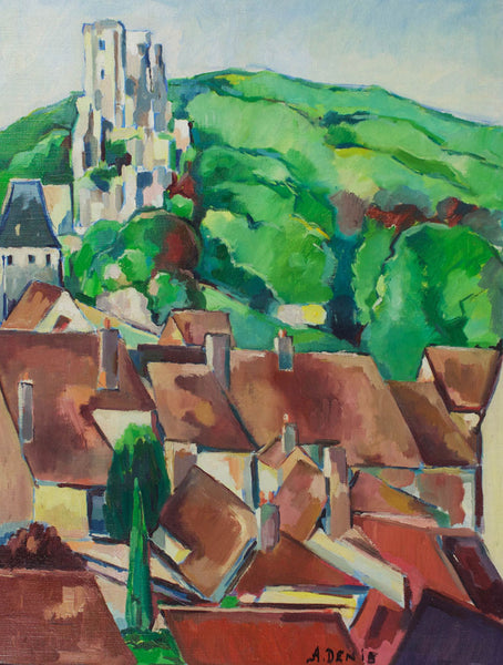 A. Denis - Chateau de Laverdin, Mid 20th Century Oil Painting