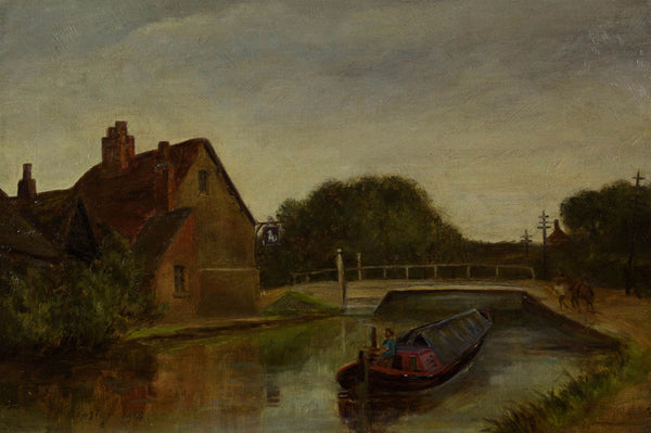 John Henry Hipsley - The Canal, 1898 Original Oil