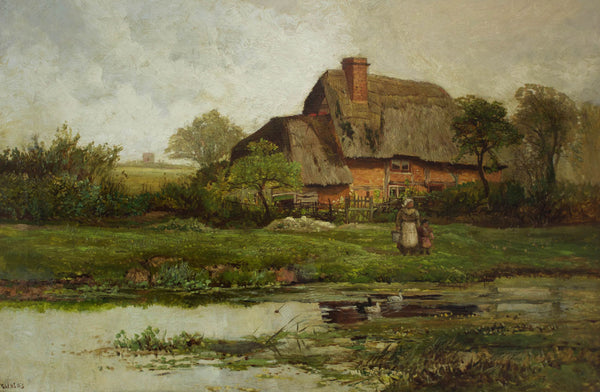 Paul H. Ellis - Feeding the Ducks, 19th Century Oil