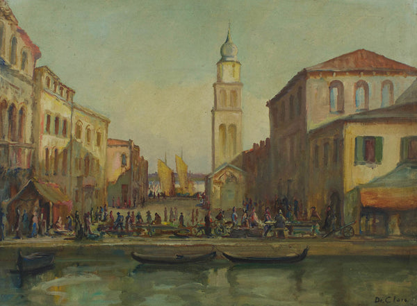 De Claro - Venice, Original 20th Century Oil Painting