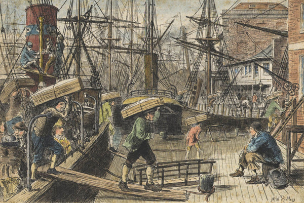 Matthew White Ridley - Loading the Boat, Original 19th Century Etching