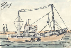 Robert J. Collins - Radio Caroline, At Chatham, 1996 Watercolour Painting