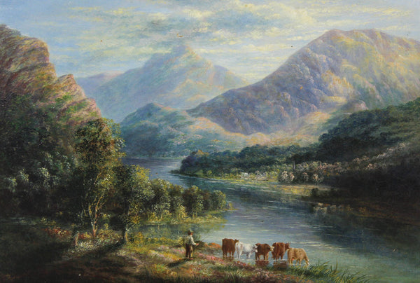 English School - Highland Scene, 19th Century Oil