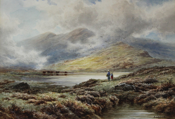 H. D. Hillier - Highland Walk, 19th Century Watercolour