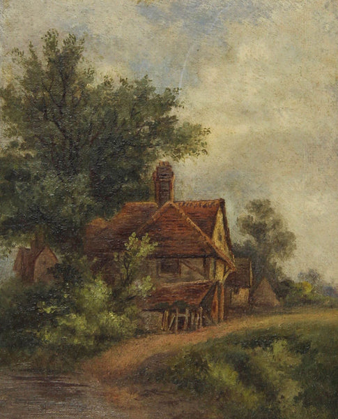 Country Cottage - 19th Century Original Oil Painting