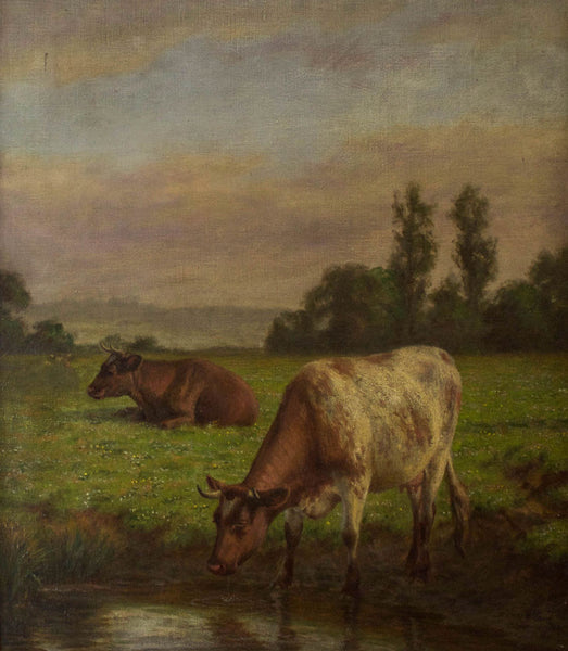 Joseph Dixon Clark - Cows, 19th Century Original Oil