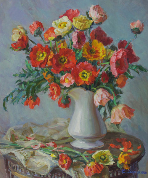 Russian School - Flowers, Contemporary Oil