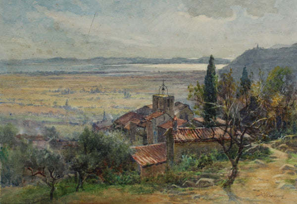 Arthur Netherwood - Continental Hillside Town, 19th Century Watercolour