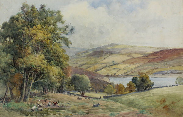Arthur Netherwood - View From The Hill, Original 19th Century Watercolour Painting