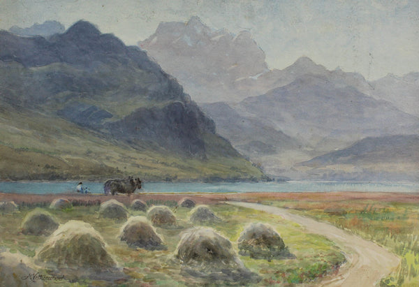 Arthur Netherwood - Mountain Scene, Original 19th Century Watercolour Painting