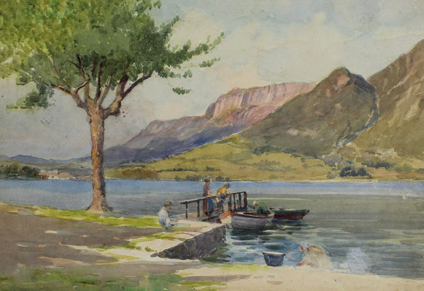 Arthur Netherwood - Boating on the Lake, 19th Century Watercolour Painting