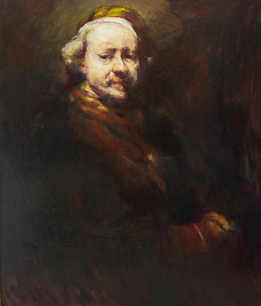 Self Portrait - After Rembrandt van Rijn, Original Contemporary Oil Painting