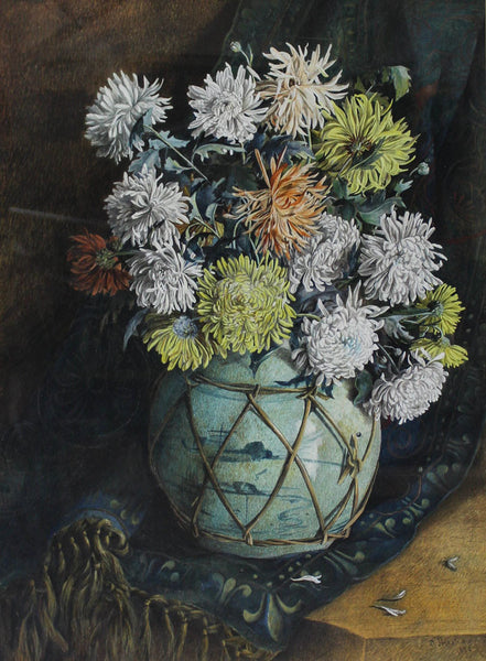 Mrs. Amelia Henshaw - Chrysanthemums, Original 1888 Watercolour Painting