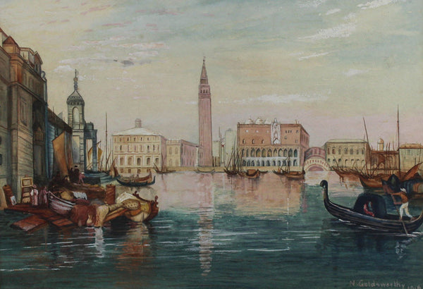 N. Goldsworthy - Venice, 1916 Original Gouache Painting