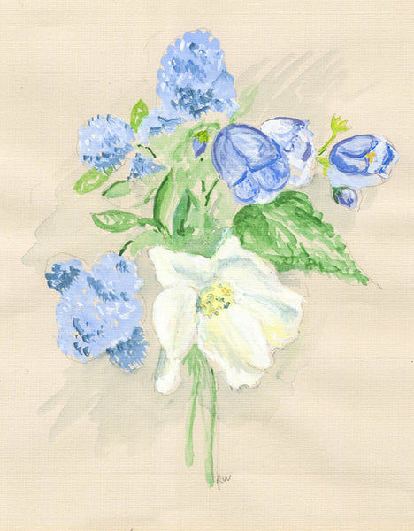R. W - Flowers, Original Early 20th Century Watercolour Painting