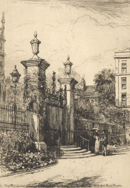 Percy Thomas - Garden Gates, Inner Temple, Original 1897 Etching