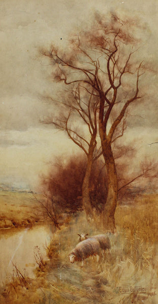 After Edwin Bottomley - Sheep, 1905 Original Watercolour Painting